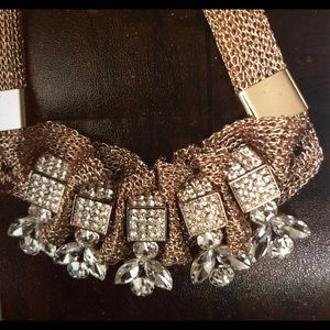 Gold Mesh Rhinestone ABS Necklace Art Deco Look